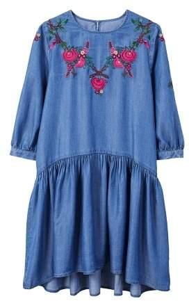 Mango MANGO Embroidery ruched dress