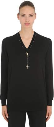 Dolce & Gabbana Cashmere Knit Sweater W/ Rosary