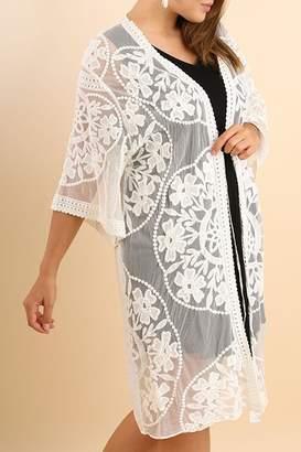 Umgee USA White Flower Kimono