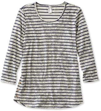 L.L. Bean L.L.Bean Pima Cotton Tee, Three-Quarter-Sleeve Side-Button Tunic Print
