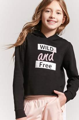Forever 21 Girls Wild and Free Graphic Hoodie (Kids)