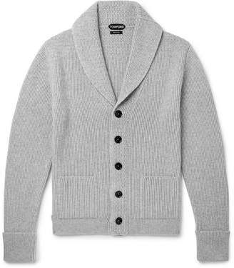 Tom Ford Steve McQueen Shawl-Collar Ribbed Cashmere Cardigan - Men - Gray
