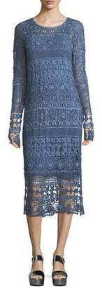 XCVI Fonda Crochet Long-Sleeve Midi Dress