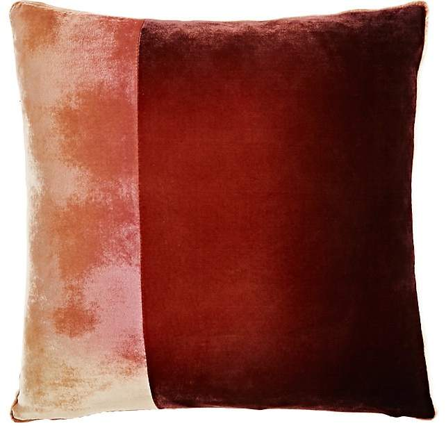 Kevin O'Brien Colorblocked Silk-Blend Velvet Pillow