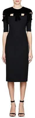 Fendi Women's Bow-Embellished Cady Sheath Dress
