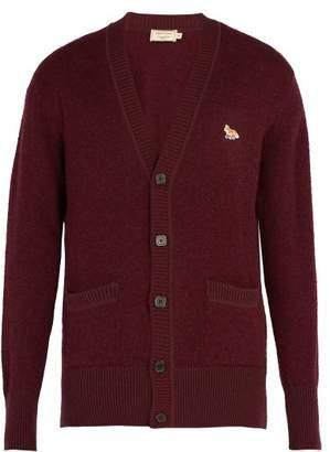 Maison Kitsuné - V Neck Wool Cardigan - Mens - Dark Red