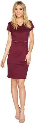 Ellen Tracy Short Sleeved Scuba Dress with Chain Detail Women's Dress
