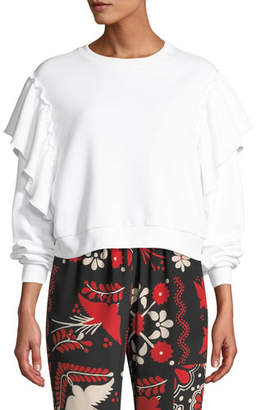 RED Valentino Crewneck Long-Sleeve Cropped Sweatshirt w/ Ruffle Shoulders