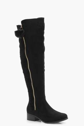 boohoo Wide Fit Pom Trim Over Knee Boots