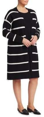 Lafayette 148 New York Lafayette 148 New York, Plus Size Plus Matte Crepe Striped Cardigan