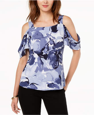 INC International Concepts I.n.c. Petite Printed Cold-Shoulder Top, Created for Macy's