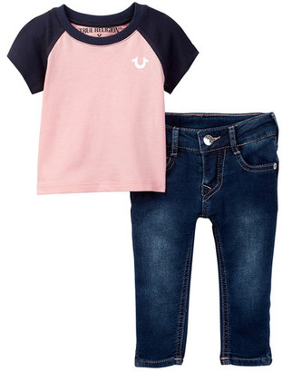 True Religion Banded Raglan Tee & Jean Set (Baby Girls) $79 thestylecure.com