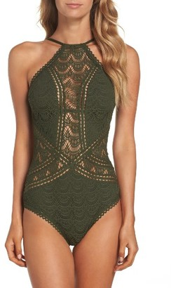 Women's Becca Crochet One-Piece Swimsuit $124 thestylecure.com