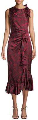 Cinq à Sept Nanon Sleeveless Ruched Floral-Print Midi Cocktail Dress