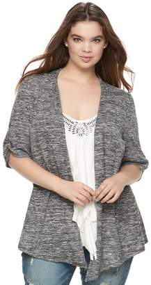 Heartsoul Juniors' Plus Size HeartSoul Ruched Mock-Layer Cardigan