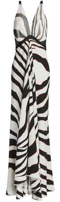Roberto Cavalli Satin And Mesh-Trimmed Zebra-Print Stretch-Jersey Gown