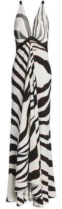 Roberto Cavalli Satin And Mesh-Trimmed Zebra-Print Stretch-Jersey Gown