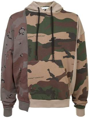 Off-White patchwork camouflage hoodie