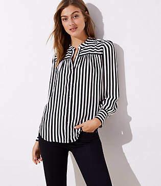 LOFT Mixed Stripe Puff Sleeve Blouse
