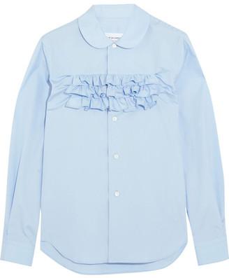 Comme des Garçons GIRL - Ruffle-trimmed Cotton-poplin Shirt - Blue $380 thestylecure.com