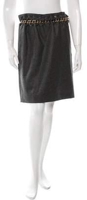 Chloé Wool Chain-Embellished Skirt