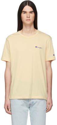 BEIGE Champion Reverse Weave Small Script Logo T-Shirt