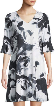 CeCe by Cynthia Steffe Half-Sleeve Flora-Print Sheath Dress
