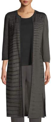 Misook 3/4-Sleeve Shimmered Long Jacket
