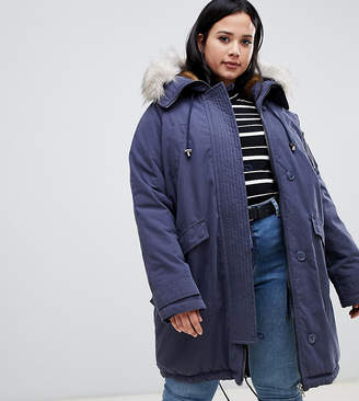 Asos DESIGN Curve luxe parka with faux fur trim