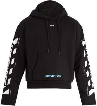 Off-White Temperature hooded cropped cotton sweatshirt