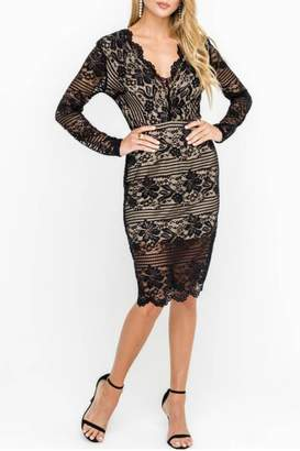 Lush Lace Cocktail Midi-Dress