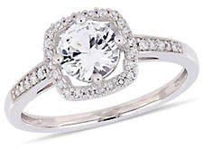 CONCERTO 10K White Gold Halo Birthstone Ring with 0.14 TCW Diamond