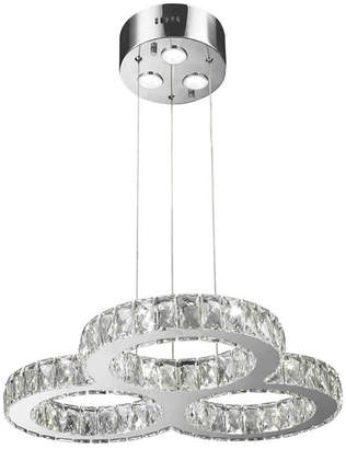 Worldwide Lighting Galaxy 27 Integrated Led Light Chrome Finish Diamond Cut Crystal Triple Ring Chandelier
