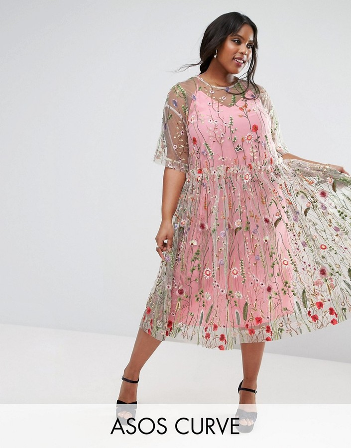 Asos SALON Embroidered Smock Longer Length Midi Dress