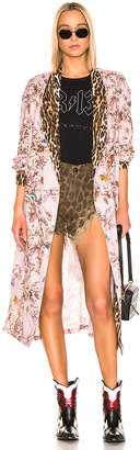 R 13 Smoking Robe with Piping in Pale Pink Floral & Leopard | FWRD