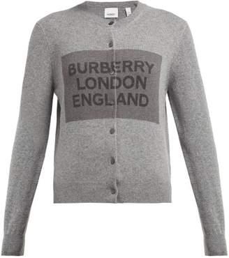Burberry Logo Knit Cashmere Cardigan - Womens - Grey