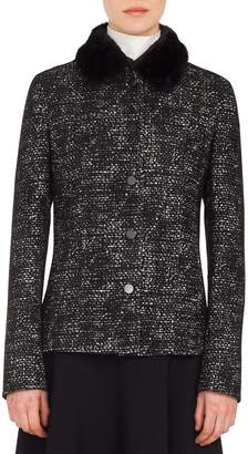 Akris Punto Button-Front Bicolor Tweed Jacket w/ Detachable Faux-Fur Collar