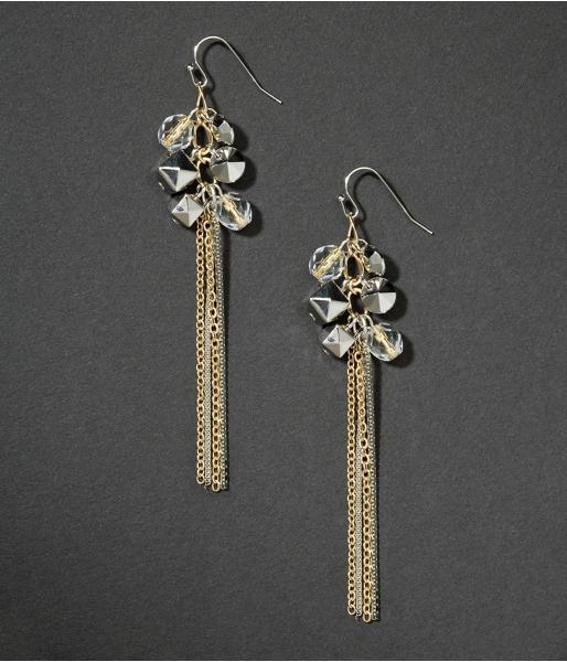 Beaded Two-Tone Chain Dangling Earrings