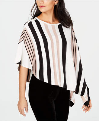 JM Collection Asymmetrical Striped Poncho, Created for Macy's