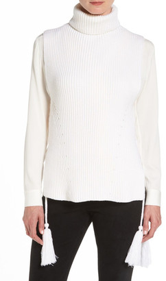 Kobi Halperin Coralie Lace-Up Merino Wool Turtleneck Layering Sweater $378 thestylecure.com