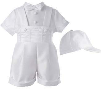 Generic Christening Baptism Newborn Baby Boy Special Occasion 3 Pc Shantung Short Pant Outfit Set w/ Embroidered Crosses