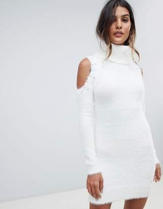 Lipsy Cold Shoulder Jumper Dress With Pearl Trim