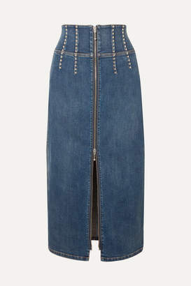 Current/Elliott The Trilby Studded Denim Midi Skirt - Mid denim