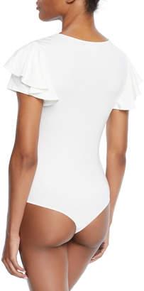 Little Black Bodysuit Palamino Ruffle Cap-Sleeve Bodysuit