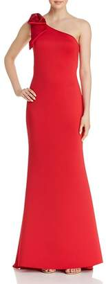 Aqua One-Shoulder Scuba Crepe Gown - 100% Exclusive