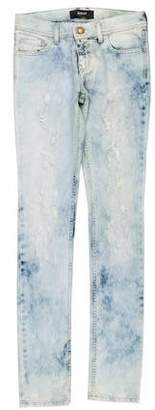 Versace Distressed Mid-Rise Jeans