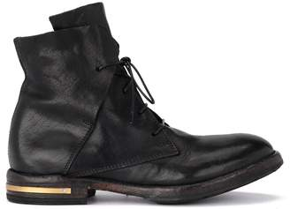 Moma Cusna Old Black Leather Ankle Boots With Golden Metal Insert