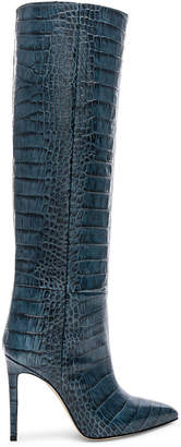 Paris Texas Stiletto Knee High Boot in Blu Croc | FWRD