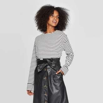 Who What Wear Women's Striped Long Sleeve Crewneck Button Back T-Shirt - Who What WearTM
