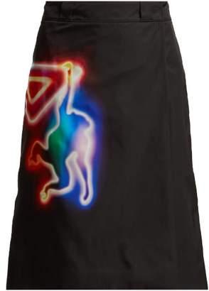 Prada Neon Monkey Print A Line Skirt - Womens - Black Multi
